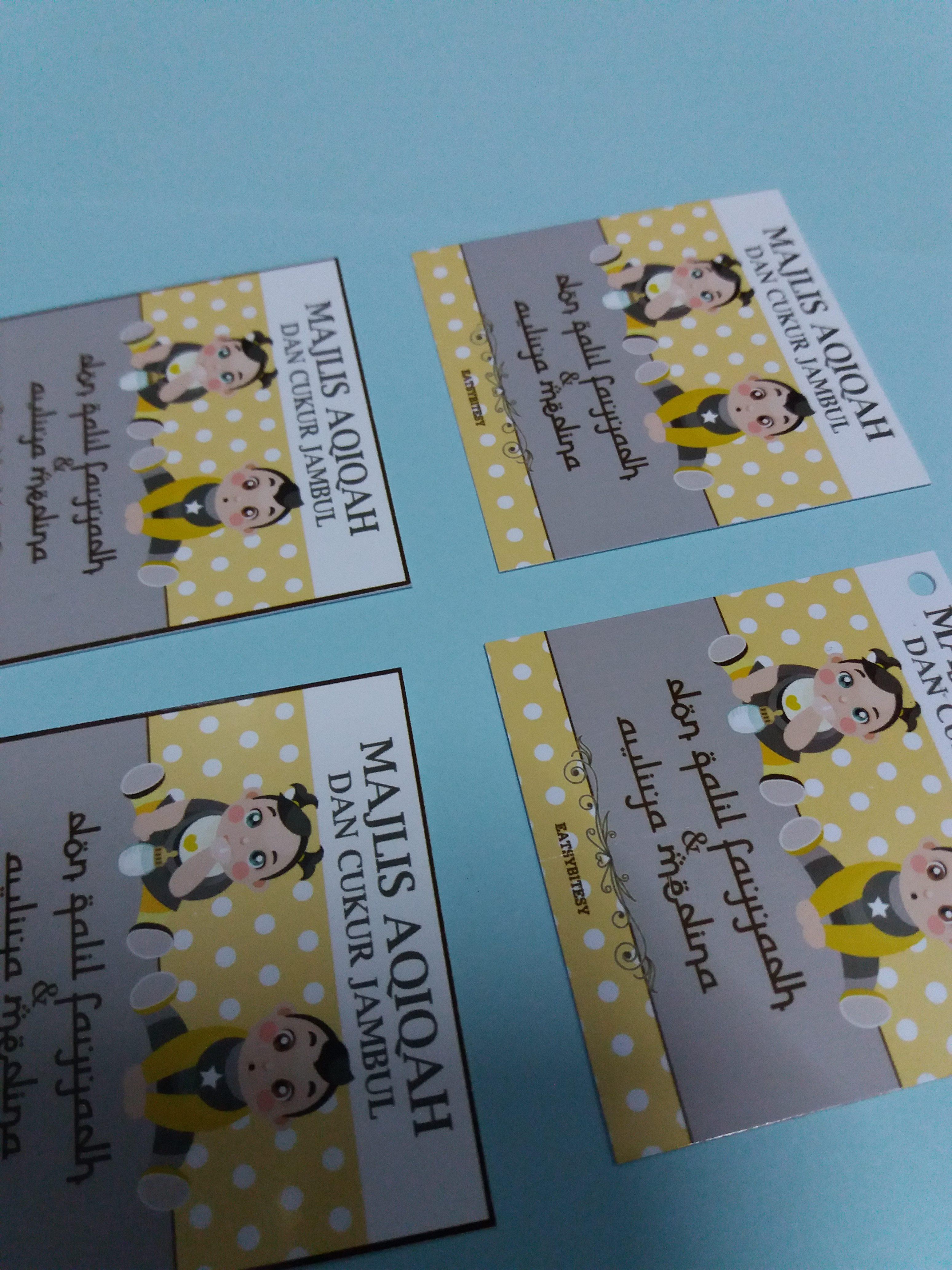 Custom Tag Majlis Aqiqah - Baby Shower Tag