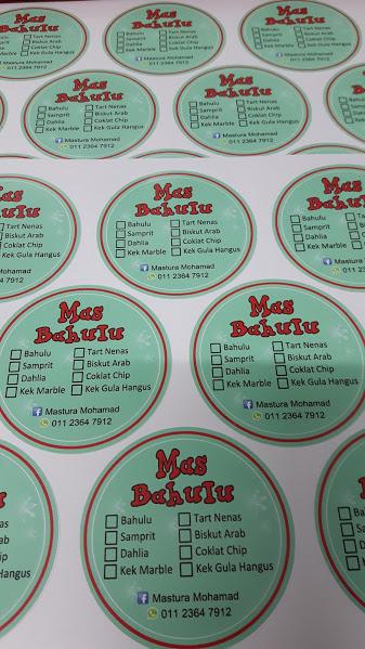 Custom Sticker Label Produk Makanan - Bahulu - Biskut - Tart - Kek