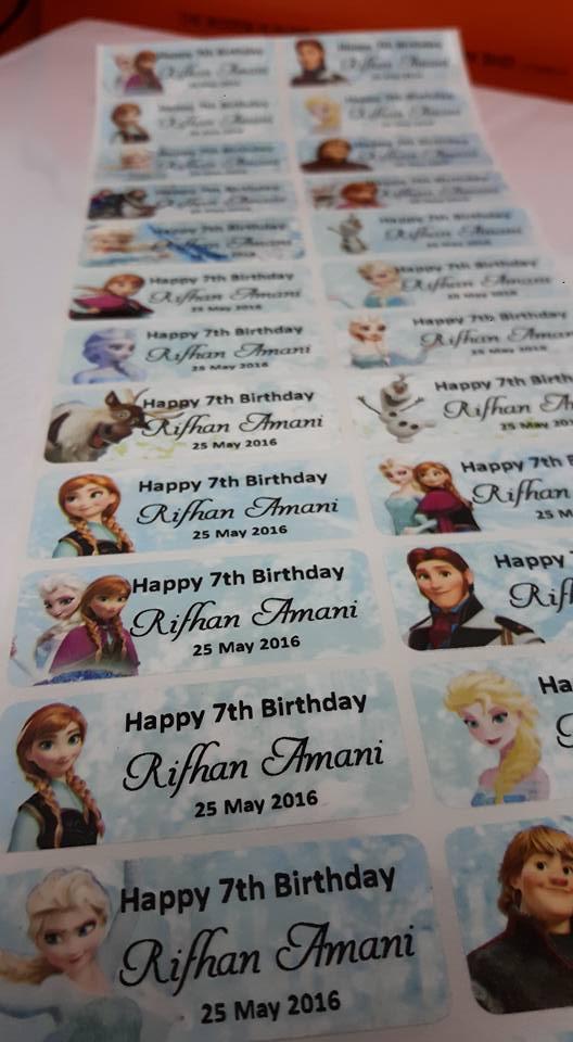 Sticker Nama/ Standard. Saiz L. Frozen. Harga 1 set - 60 keping.