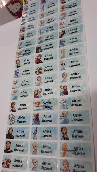 Sticker Nama/ Standard. Saiz M. Frozen. Harga 1 set - 80 keping.