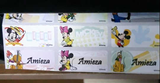 Sticker Nama/ Standard. Saiz M. Mickey. Harga 1 set - 80 keping.